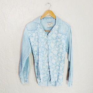 Vintage Wrangler Denim Floral Button Down Blouse